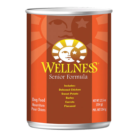 Wellness Pet Products Dog Food - Senior Recipe - Case of 12 - 12.5 oz.