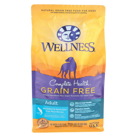 Wellness Pet Products Dog Food - Grain Free - White Fish and Menhanden Fish Recipe - Case of 6 - 4 lb.