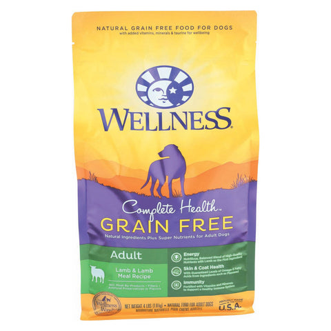 Wellness Pet Products Dog Food - Grain Free - Lamb Recipe - Case of 6 - 4 lb.