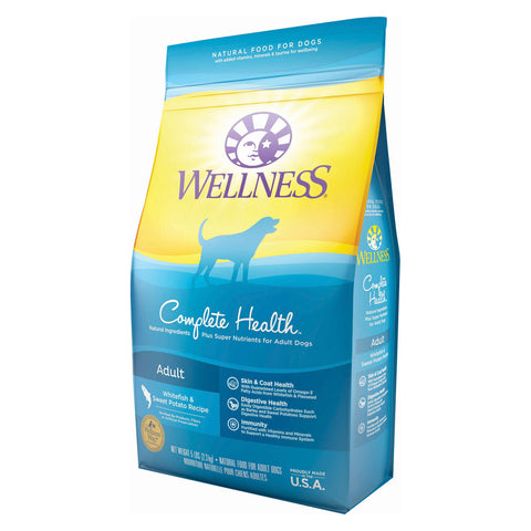 Wellness Pet Products Dog Food - Whitefish and Sweet Potato Recipe - Case of 6 - 5 lb.