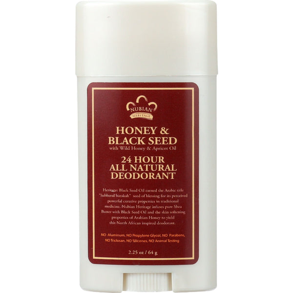 Nubian Heritage Deodorant - All Natural - 24 Hour - Honey and Black Seed - 2.25 oz - 1 each
