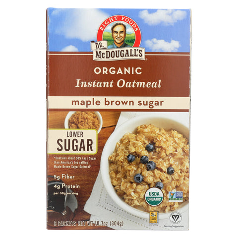 Dr. McDougall's Organic Maple Brown Sugar Instant Oatmeal - Case of 7 - 10.7 oz.