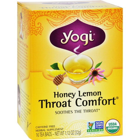 Yogi Throat Comfort Herbal Tea Caffeine Free Honey Lemon - 16 Tea Bags - Case of 6