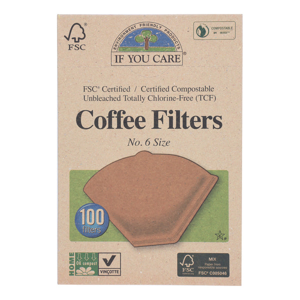 If You Care Coffee Filters - #6 Cone Unbleached - Case of 12 - 100 Count