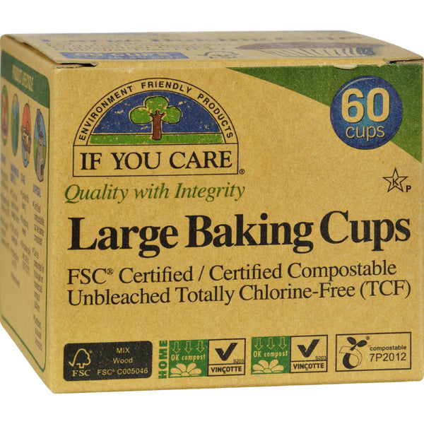 If You Care Large Unbleached Baking Cups - 60 Baking Cups (Pack of 3)