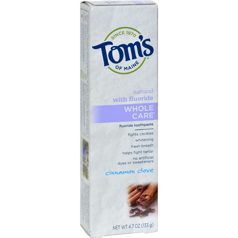 Tom's of Maine Whole Care Toothpaste Cinnamon Clove - 4.7 oz - Case of 6