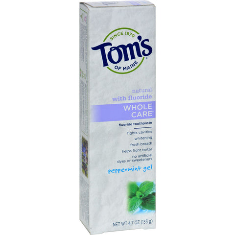 Tom's of Maine Whole Care Gel Toothpaste Peppermint - 4.7 oz - Case of 6