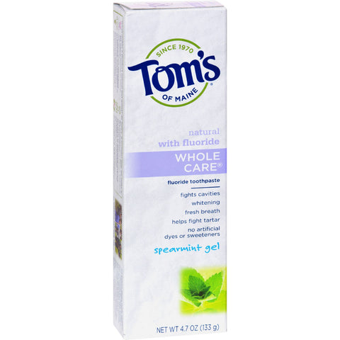 Tom's of Maine Whole Care Gel Toothpaste Spearmint - 4.7 oz - Case of 6