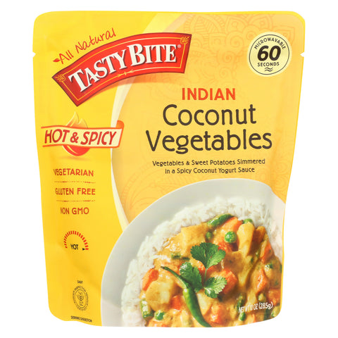 Tasty Bite Heat & Eat Indian Cuisine Entre - Hot & Spicy Coconut Vegetables - Case of 6 - 10 oz