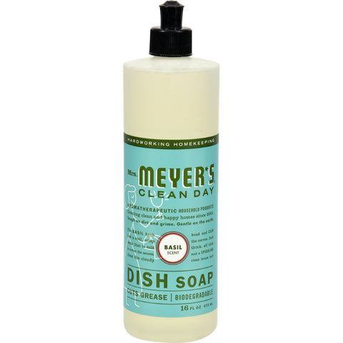 Mrs. Meyer's Liquid Dish Soap - Basil - Case of 6 - 16 oz