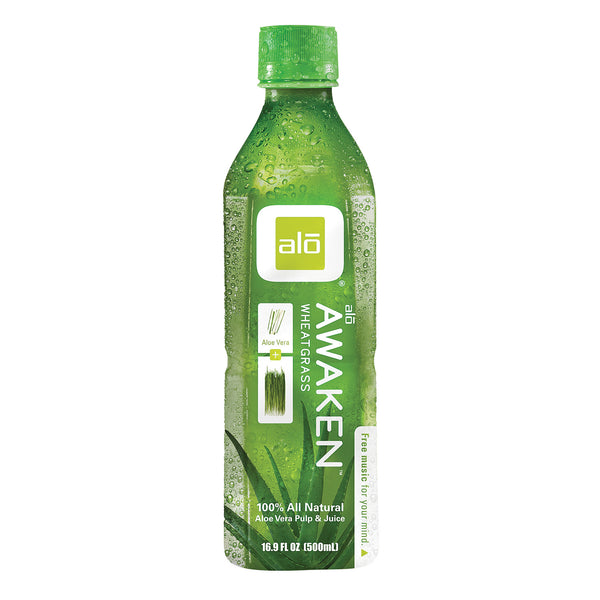 Alo Original Awaken Aloe Vera Juice Drink - Wheatgrass - Case of 12 - 16.9 fl oz.