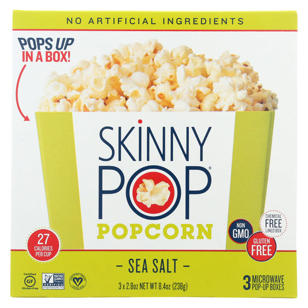 Skinnypop Popcorn Microwave Popcorn - Sea Salt - Case of 12 - 8.4 oz