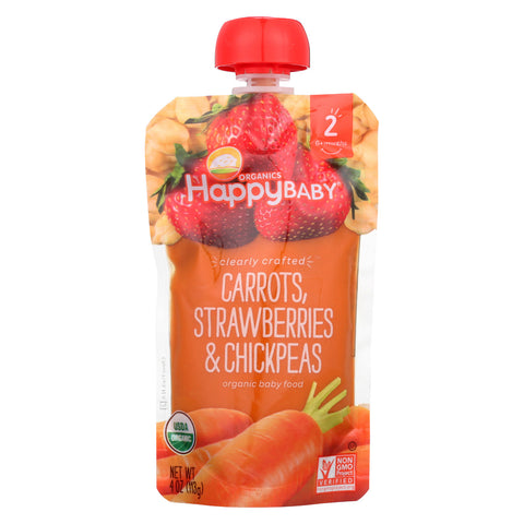 Happy Baby Organic Stage 2 Baby Food - Carrots Strawberries & Chickpeas - Case of 16 - 4 oz