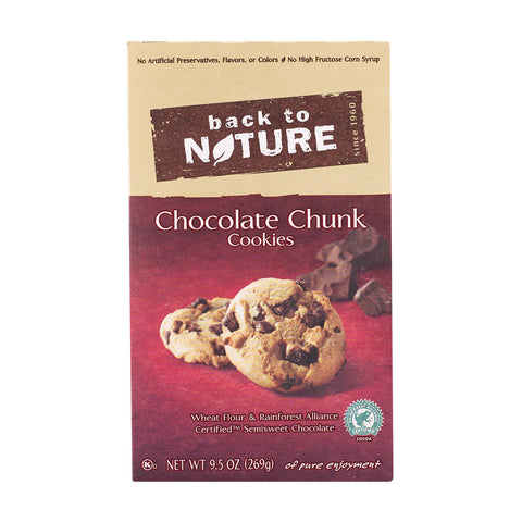 Back To Nature Chocolate Chunk Cookies - Case of 6 - 9.5 oz.
