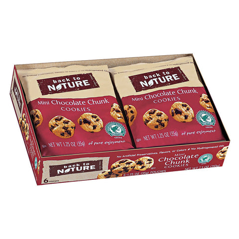 Back To Nature Cookies - Mini Chocolate Chunk - Case of 4 - 1.25 oz.