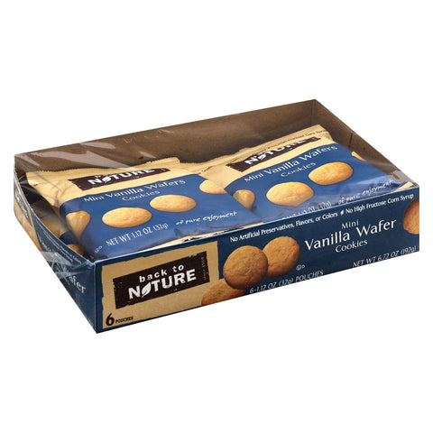 Back To Nature Madagascar Vanilla Wafers - Whole Grain Wheat Flour and Vanilla - Case of 4 - 1.12 oz.