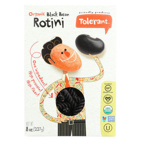 Tolerant Organic Pasta - Black Bean, Rotini - Case of 6 - 8 oz.
