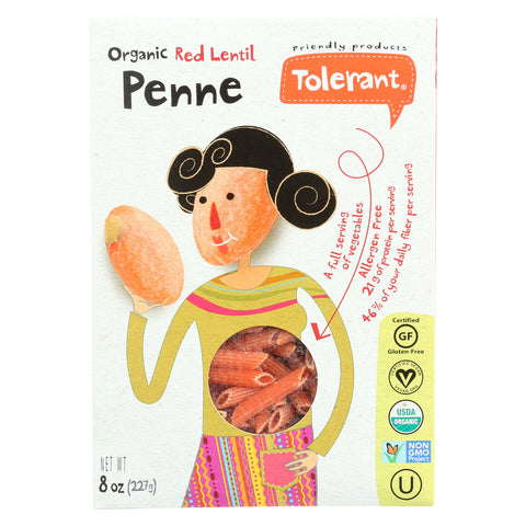 Tolerant Organic Pasta - Red Lentil, Penne - Case of 6 - 8 oz.
