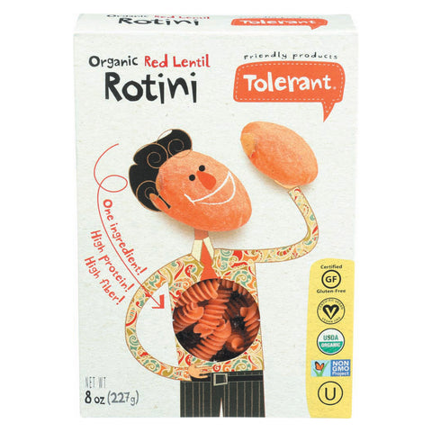 Tolerant Organic Pasta - Red Lentil Rotini - Case of 6 - 8 oz