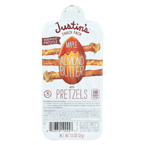 Justin's Nut Butter Almond Butter with Pretzels - Maple - Case of 6 - 1.3 oz.