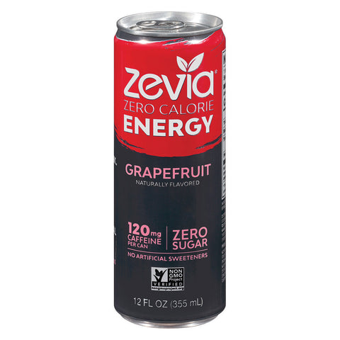 Zevia Zero Calorie Energy Drink - Grapefruit - Case of 12 - 12 fl oz