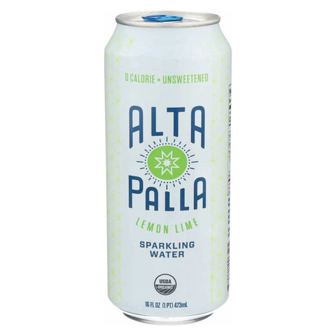 Alta Palla Sparkling Water - Organic - Lemon Lime - Case of 12 - 16 fl oz