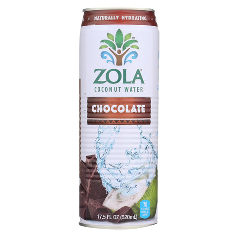 Zola Acai Coconut Water - Chocolate - Case of 12 - 17.5 Fl oz.
