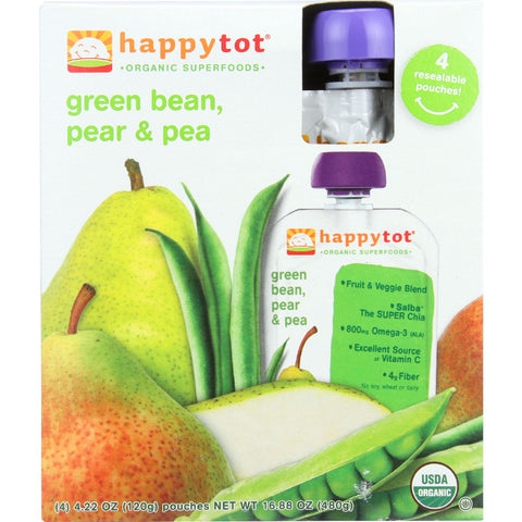 Happy Tot Toddler Food - Organic - Green Bean Pear and Pea - 4/4.22oz - case of 4