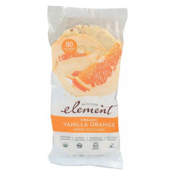 Element Organic Dipped Rice Cakes - Vanilla Orange - Case of 6 - 3.5 oz