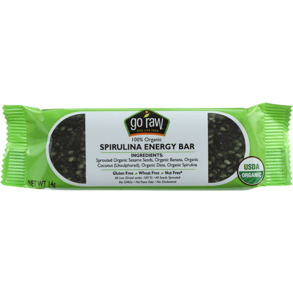 Go Raw Snack Bar - Organic - Sprouted - Spirulina Energy - Sweetened - .493 oz - case of 10