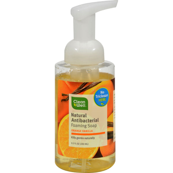 CleanWell All-Natural Antibacterial Foaming Hand Wash Orange Vanilla - 9.5 fl oz