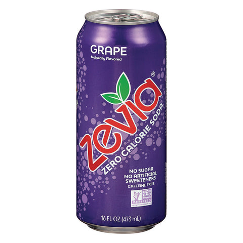 Zevia Zero Calorie Soda - Grape - Case of 12 - 16 fl oz