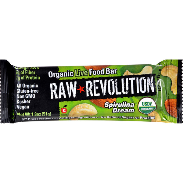 Raw Revolution Bar - Organic Spirulina Dream - Case of 12 - 1.8 oz