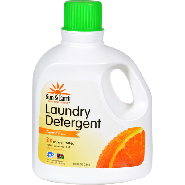 Sun and Earth Natural Laundry Detergent - Light Citrus - Case of 4 - 100 oz
