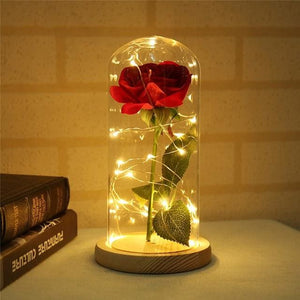 Enchanted Rose In Glass Dome With Wooden Base - A Perfect Gift - Beige - Led Lamps 3D Led Moon Light (Touch) Oto Enchanted Rose Glass Dome