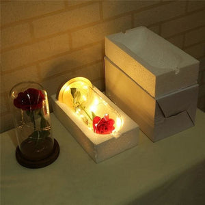 Enchanted Rose In Glass Dome With Wooden Base - A Perfect Gift - Red - Led Lamps 3D Led Moon Light (Touch) Oto Enchanted Rose Glass Dome Led