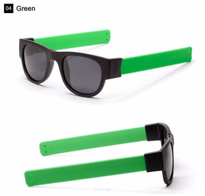Foldable Unisex Sunglasses. Slap & Foldable On Anything. A Unique Trendy And Creative To Inspire - Polarized Grey Lens / Green - Eyewear