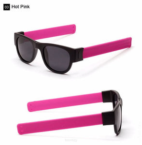 Foldable Unisex Sunglasses. Slap & Foldable On Anything. A Unique Trendy And Creative To Inspire - Polarized Grey Lens / Pink - Eyewear