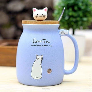 Kitty Cup With Heat-Resistant For Kids & Cat Lovers - Blue - Drinkware Cup Drinkware F6 Std Edc Oto For Cat Lovers Kitty Fetchzy Fetchzy