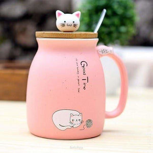 Kitty Cup With Heat-Resistant For Kids & Cat Lovers - Pink - Drinkware Cup Drinkware F6 Std Edc Oto For Cat Lovers Kitty Fetchzy Fetchzy