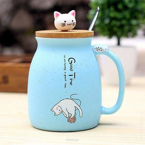 Kitty Cup With Heat-Resistant For Kids & Cat Lovers - Sky Blue - Drinkware Cup Drinkware F6 Std Edc Oto For Cat Lovers Kitty Fetchzy Fetchzy
