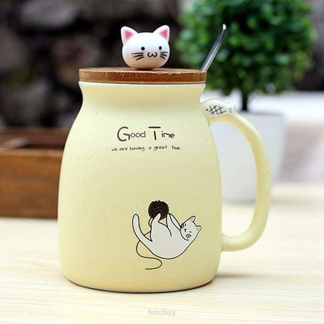 Kitty Cup With Heat-Resistant For Kids & Cat Lovers - White - Drinkware Cup Drinkware F6 Std Edc Oto For Cat Lovers Kitty Fetchzy Fetchzy