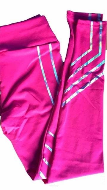 Reflective Rainbow Leggings With High Waist (2019 Bottoms Trends) For Women - Pink / L - ACTIVEWEAR ACTIVEWEAR, LEGGINGS, REFLECTIVE,