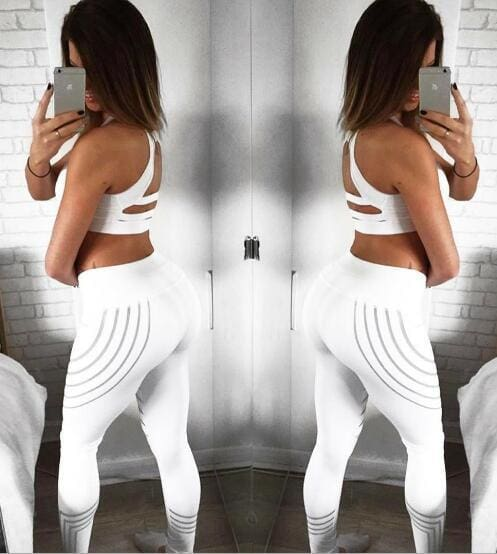 Reflective Rainbow Leggings With High Waist (2019 Bottoms Trends) For Women - White / L - ACTIVEWEAR ACTIVEWEAR, LEGGINGS, REFLECTIVE,