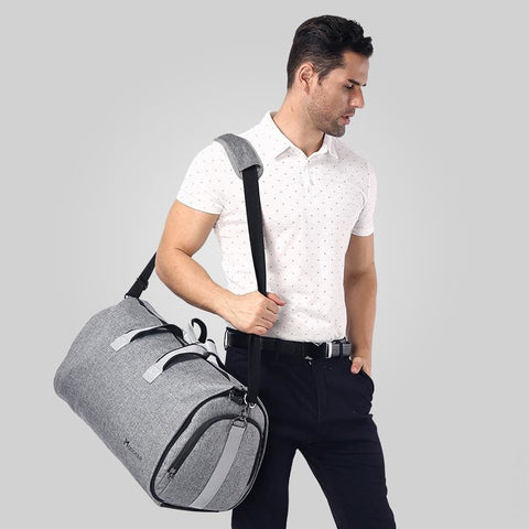 The Perfect Travel Duffel Bag Get Organised For Business Or Weekend Trip - Grey / China - Duffel Bag Duffel Bag Featured Garment Bag Men The