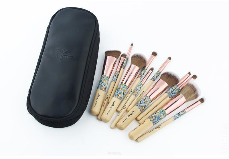 Trendy Bamboo Makeup Brushes (12 Pcs) A Soft Synthetic Collection Kit - Bamboo Beauty Essentials F6 Std Edc Oto Makeup Makeup Brush Fetchzy