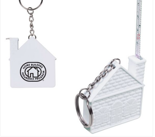 Custom Imprinted Key Tag with House Shaped Tape Measure 3 ft