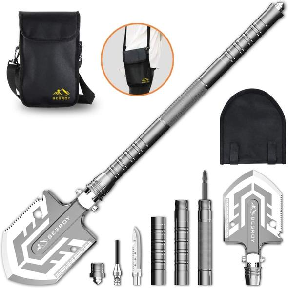The BESROY camping Luxury Ultimate Survival Tool 23-in-1 Multi-Purpose Folding Shovel