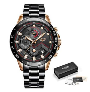 LIGE 2020 Men Luxury Sports Stainless Steel Watch