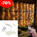 3Mx3M LED Christmas Remote Control USB Curtain Lights